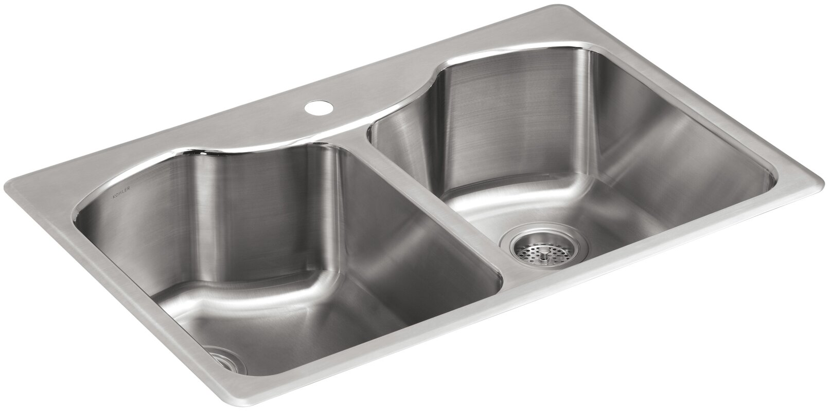 Kohler octave 33 x 22 x 9 5 16 top mount double equal for Best quality stainless steel kitchen sinks