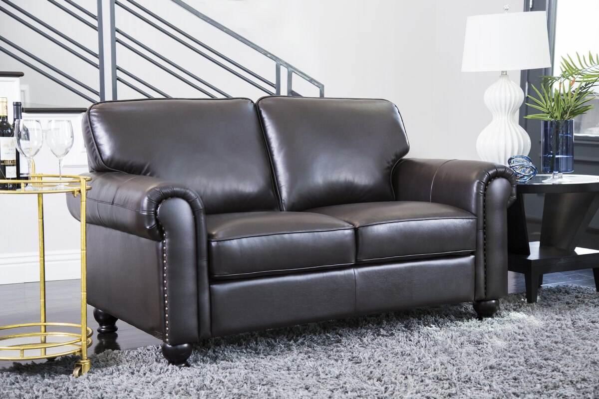 Darby home co coggins leather 2 piece living room set reviews wayfair 2 piece leather living room set