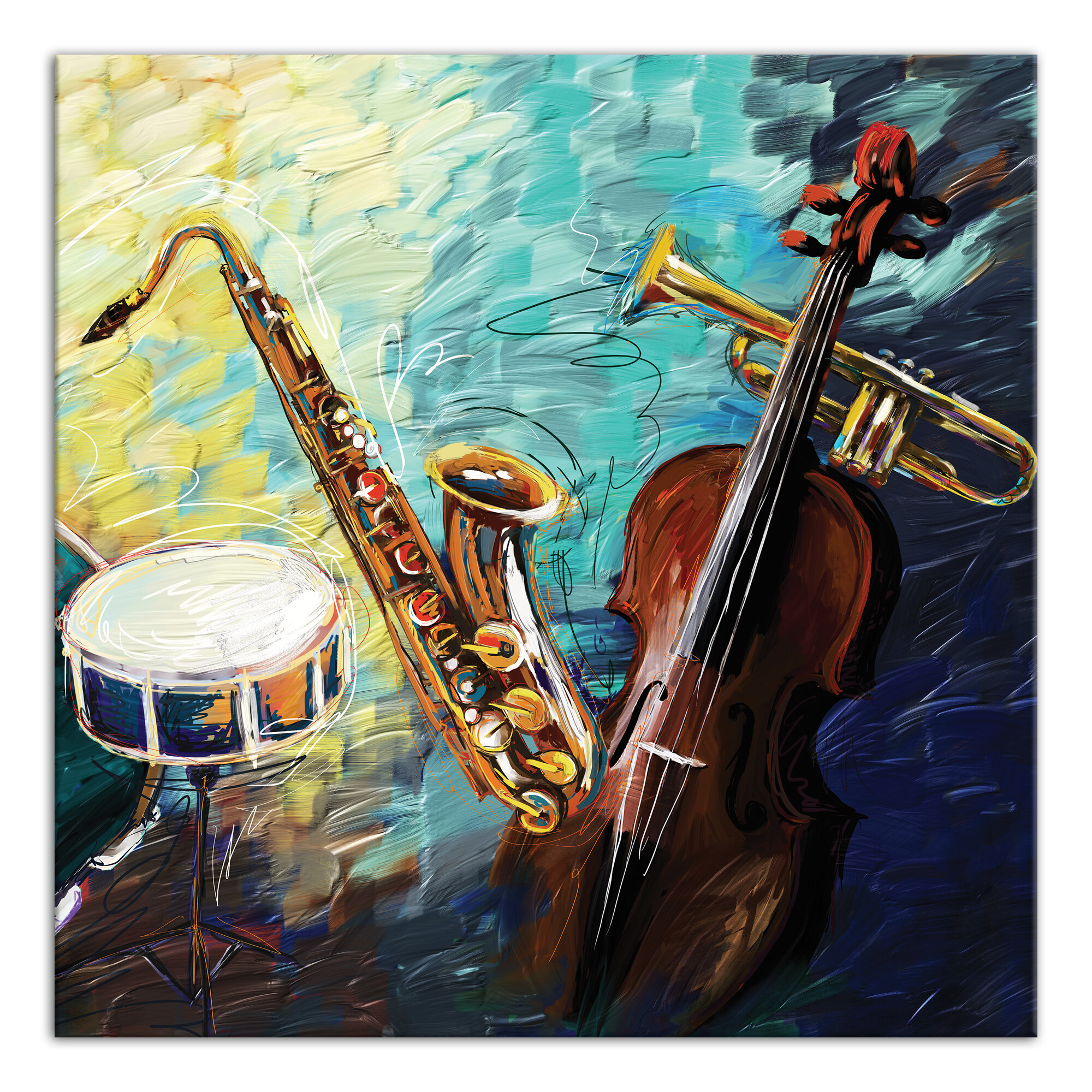 Ebern Designs Painted Jazz Band Print On Canvas Wayfair