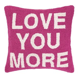 Love You More Square Hook Wool Throw Pillow