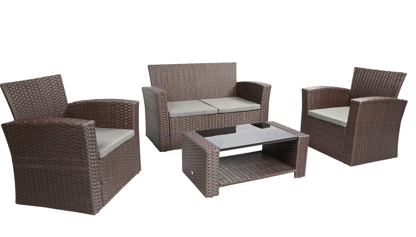 Ebern designs edward 4 piece sofa set with cushions for Monaco 4 piece sectional sofa set