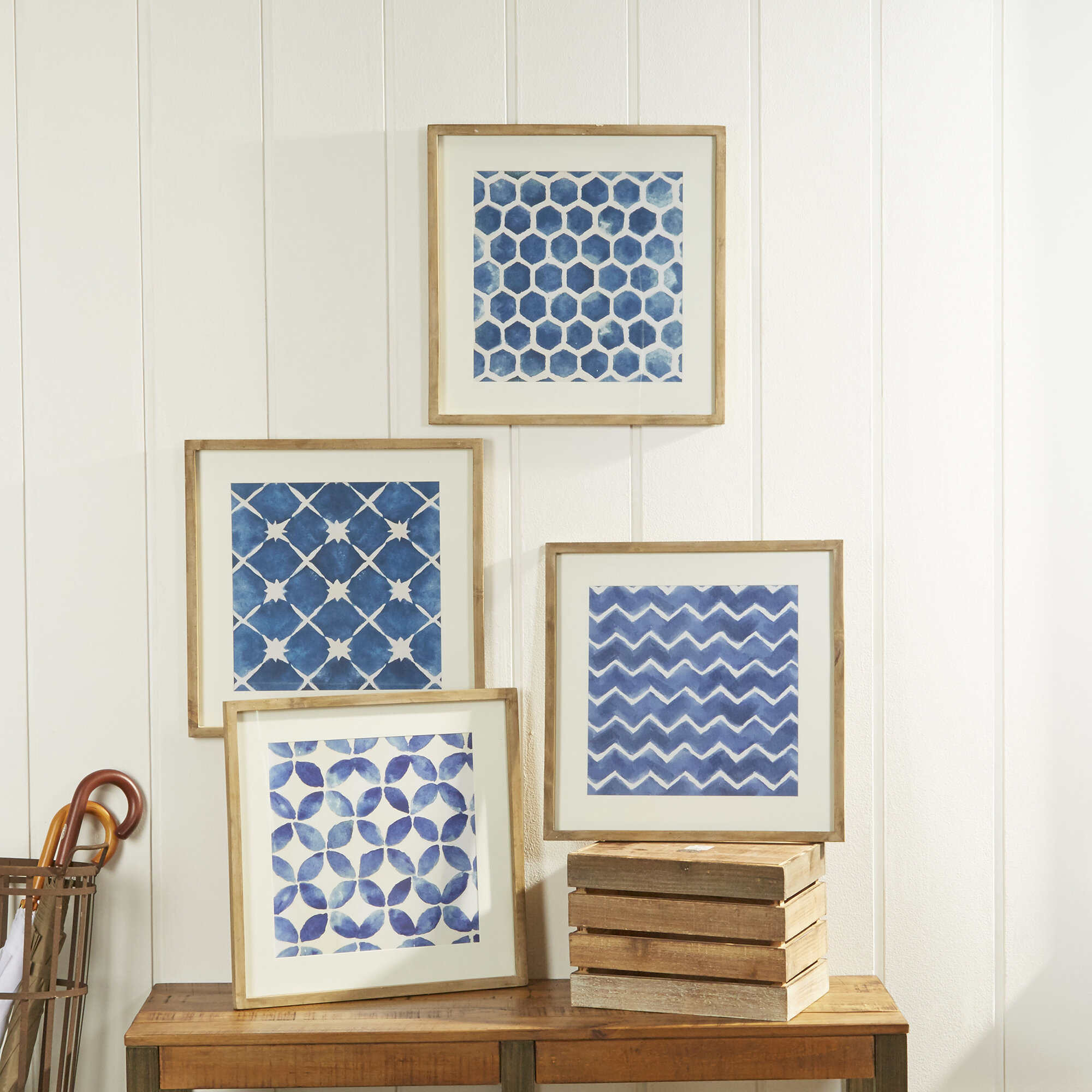 Birch Lane™ Framed Blue Geometric Prints & Reviews | Birch Lane