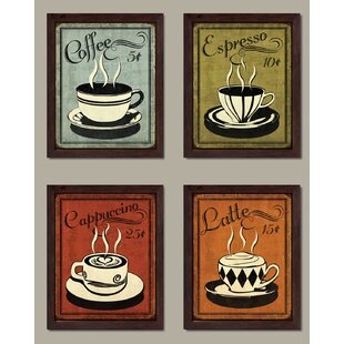 Classic And Colorful Retro Coffee Framed Graphic Art Print Set Of 4