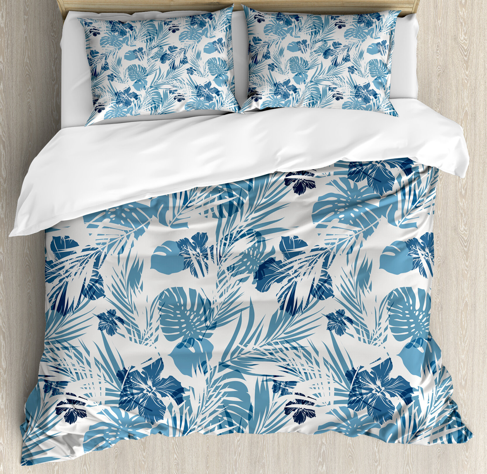 3 Piece Duvet Cover Set For Childrens Kids Teens Adults Turquoise Blue Twin Size Image Of A Tropical Island With The Palm Trees And Clear Sea Beach Theme Print Ocean Quilt Bedding Sets Duvet Covers Kids