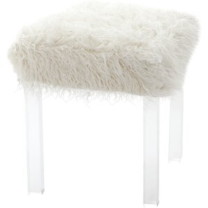 Willa Arlo Interiors Cherie Lamb Faux Fur Acrylic Square Leg Stool