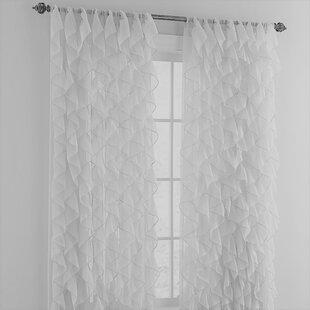 Farley Cascading Waterfall Ruffled Solid Semi Sheer Rod Pocket Single Curtain Panel