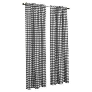Haylee Plaid U0026 Check Sheer Rod Pocket Single Curtain Panel