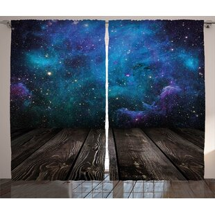 8913c37a6b8 Jocelyne Galaxy Outer Space View from Rustic Wooden Deck of Blue Nebula  Stars Magical Night Graphic Print   Text Semi-Sheer Rod Pocket Curtain  Panels (Set ...