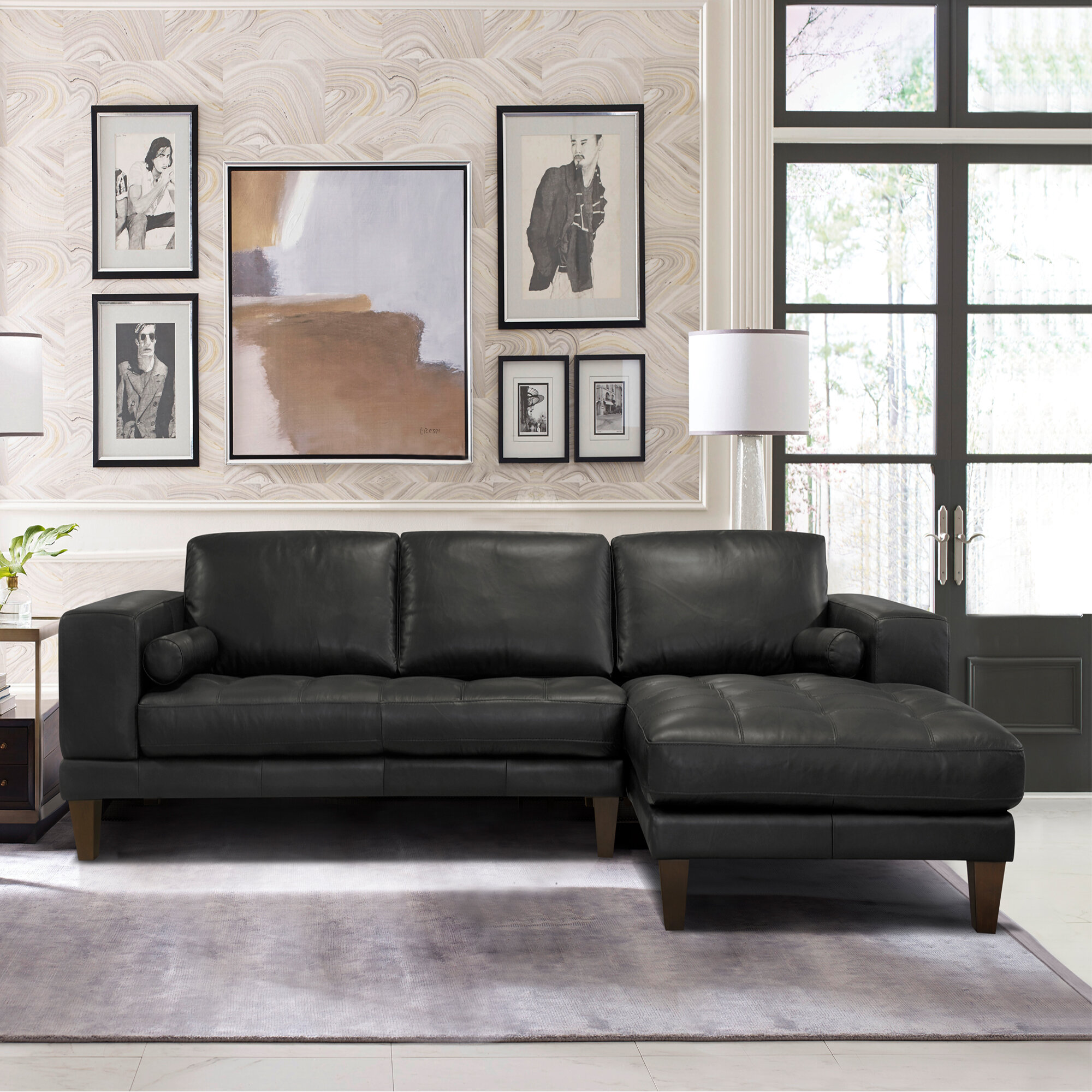 Randolph Right Hand Facing Contemporary Leather Sectional