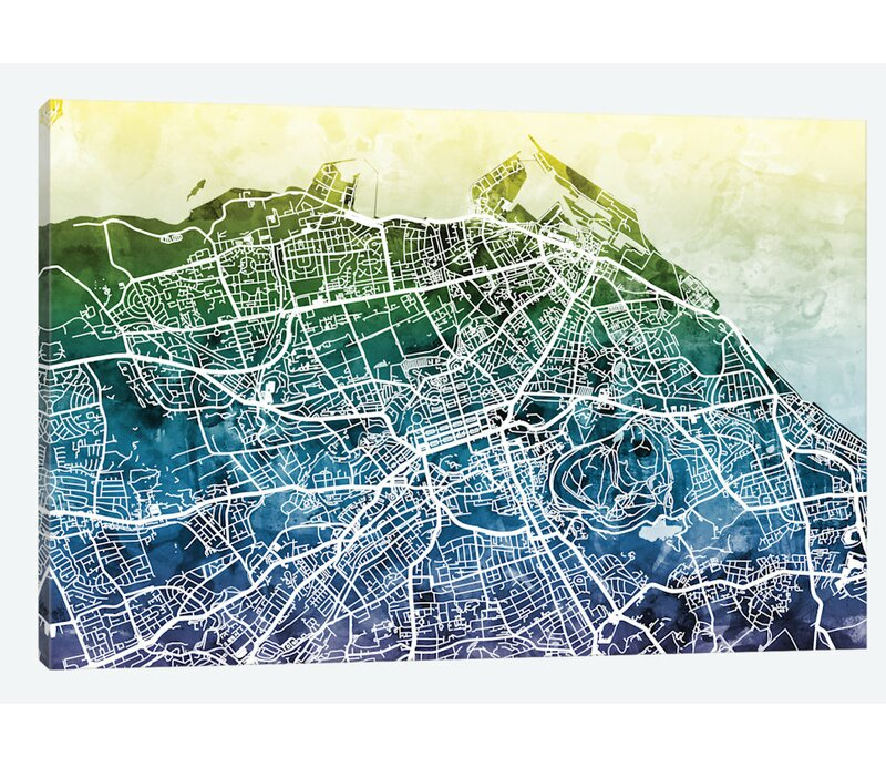 East Urban Home Color Gradient Urban Street Map Series: Edinburgh ...