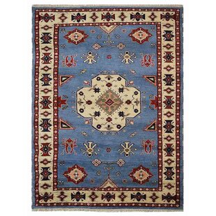 Best Corrin Hand-Knotted Blue/White Area Rug By Bloomsbury Market
