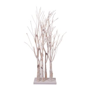 Birch Clump Lighted Tree With Base