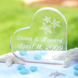 c0698e4e63eded Beach Wedding Acrylic Heart Cake Topper
