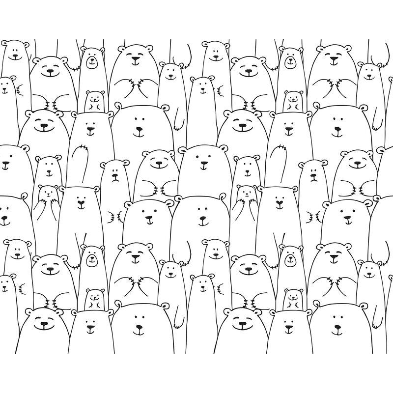 Zoomie Kids Huebner Bears 94 L X 118 W Wildlife Semi Gloss 6 Panel