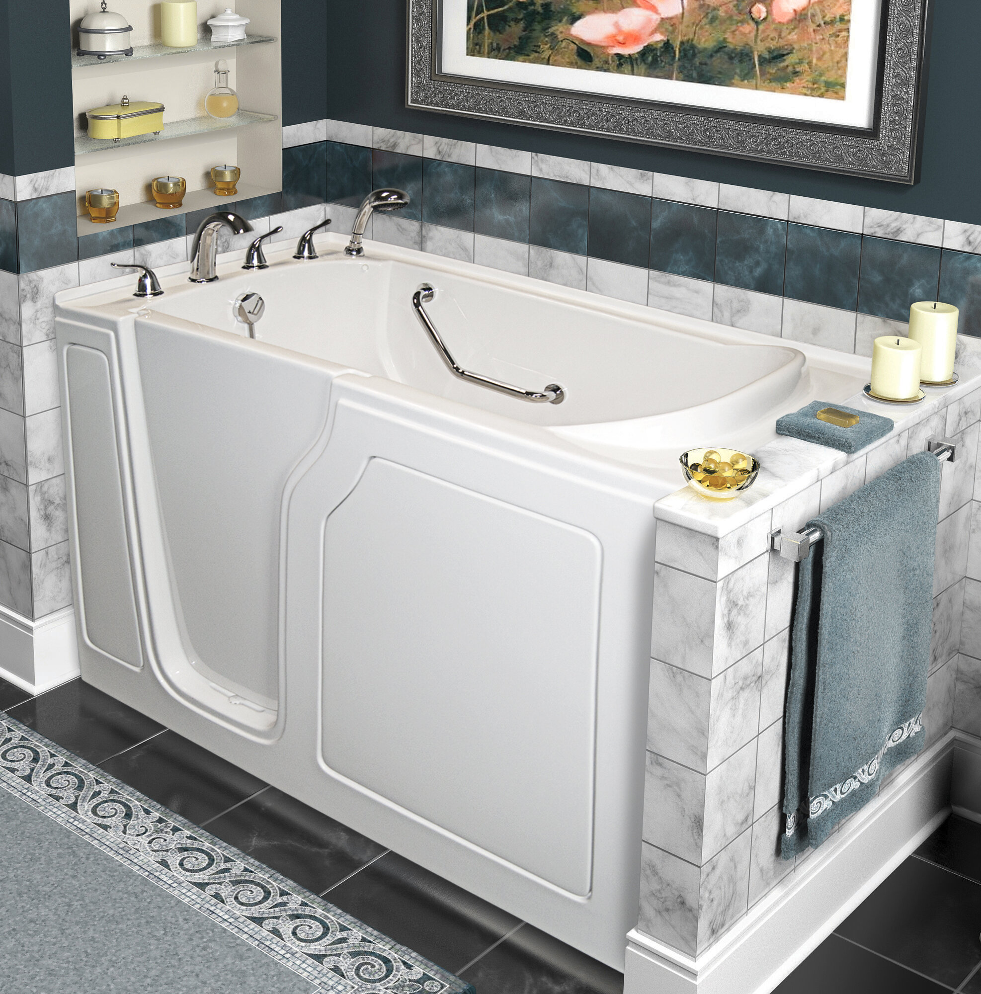 "A+ Walk-In Tubs Dignity 48"" X 28"" Whirlpool And Air Jetted"