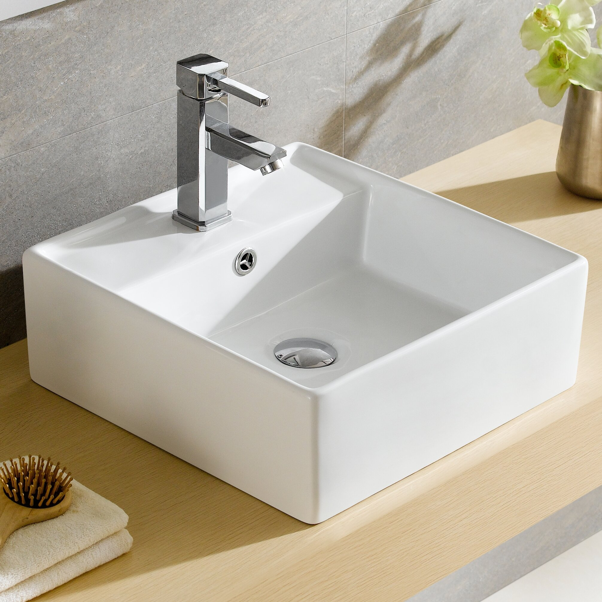Merveilleux Modern Ceramic Square Vessel Bathroom Sink With Overflow