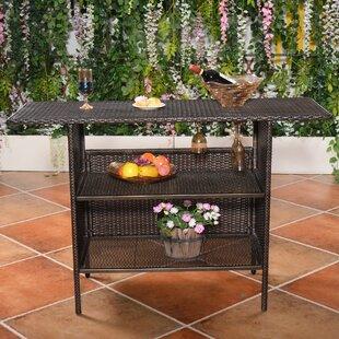 Huston Outdoor Rattan Wicker Counter Bar Table