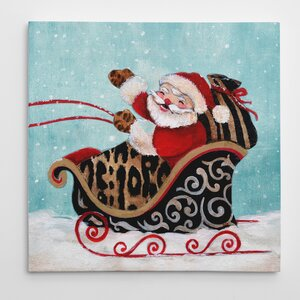'Santa and His Sleigh' Graphic Art on Wrapped Canvas