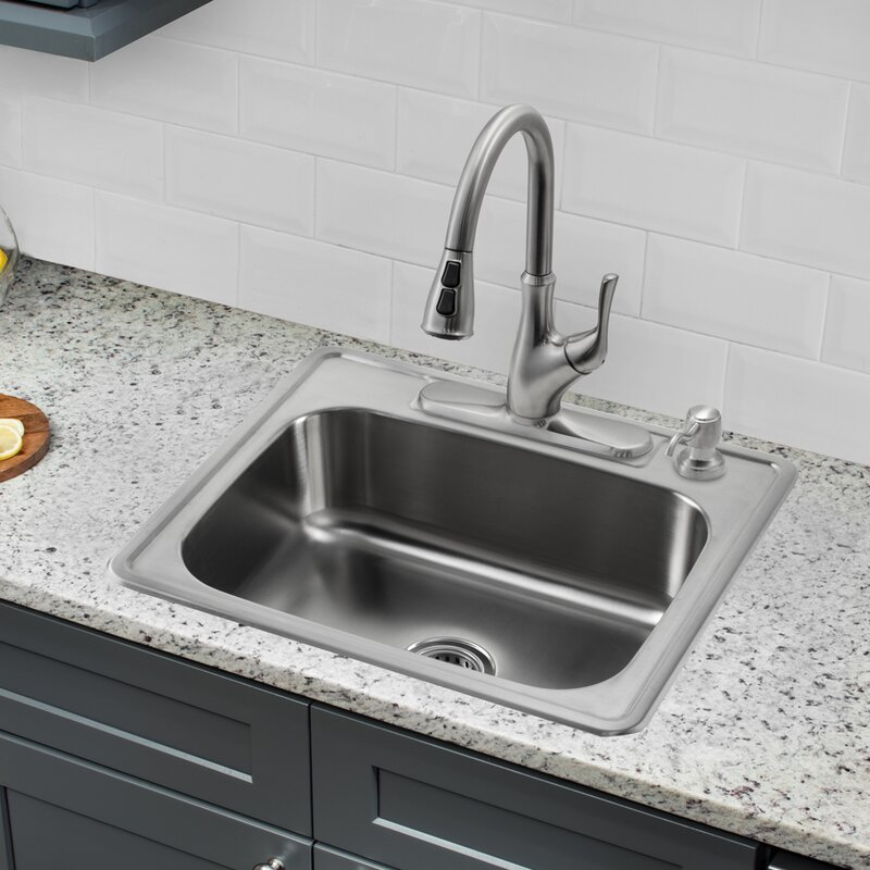 25   x 22   single bowl drop in stainless steel kitchen sink with faucet soleil 25   x 22   single bowl drop in stainless steel kitchen sink      rh   wayfair com