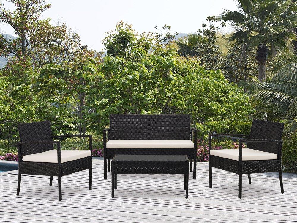 Kobe 4 Piece Lounge Seating Group With Cushion