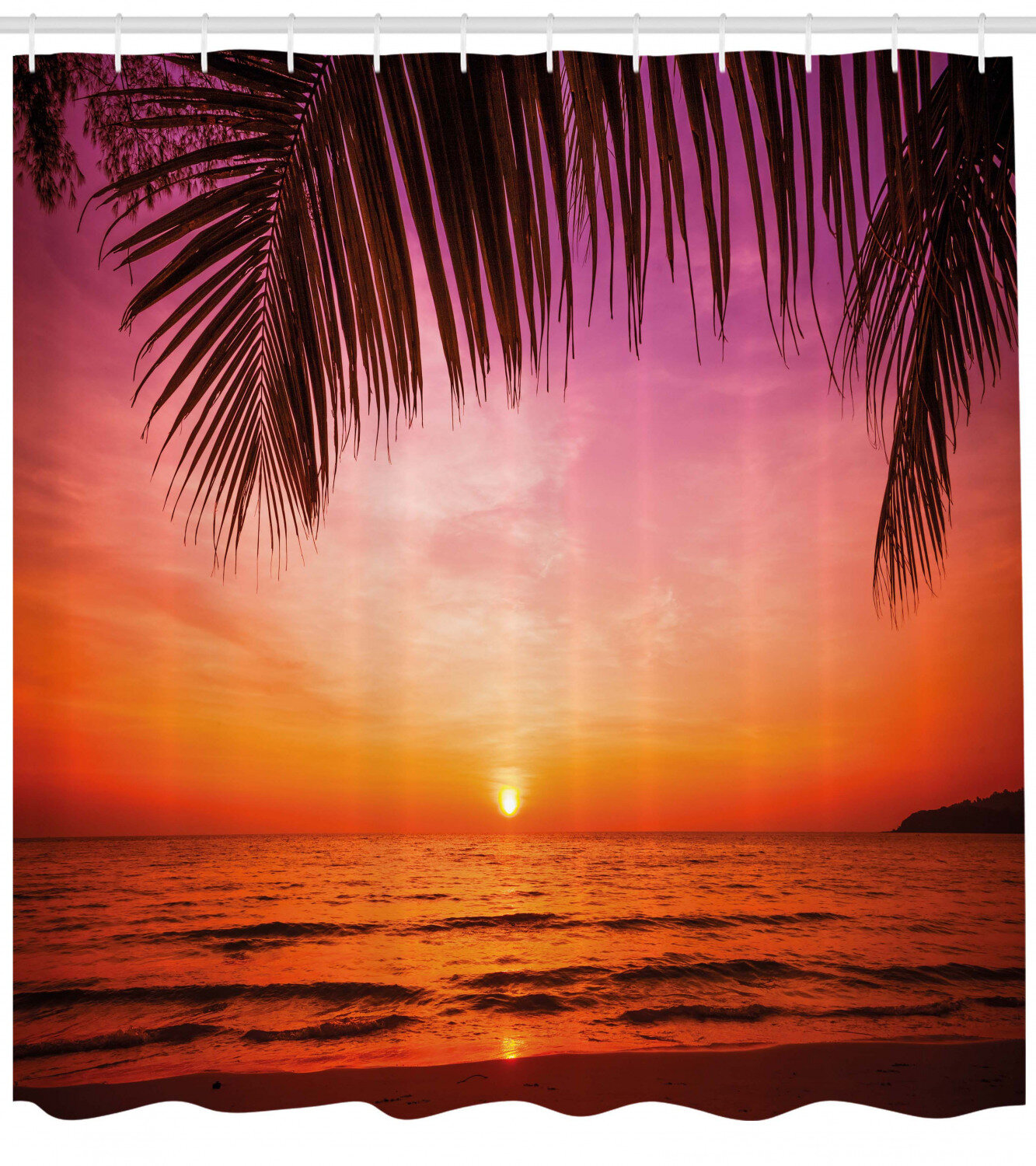 Ambesonne Tropical Shower Curtain Exotic Sunset Above The Sea Scenery From Coconut Palm Tree Leaf Heaven Picture Cloth Fabric Bathroom Decor Set