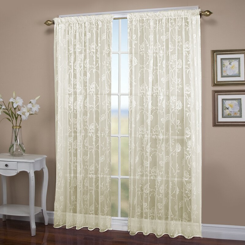 Francesca Embroidery Nature/Floral Sheer Rod Pocket Patio Single Curtain  Panel