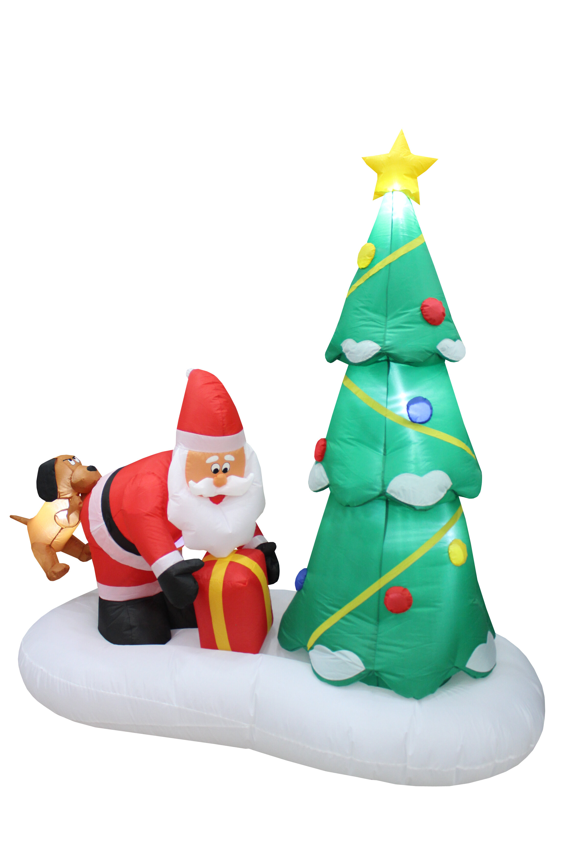 The Holiday Aisle Tree with Santa Claus and Dog Christmas Inflatable ...