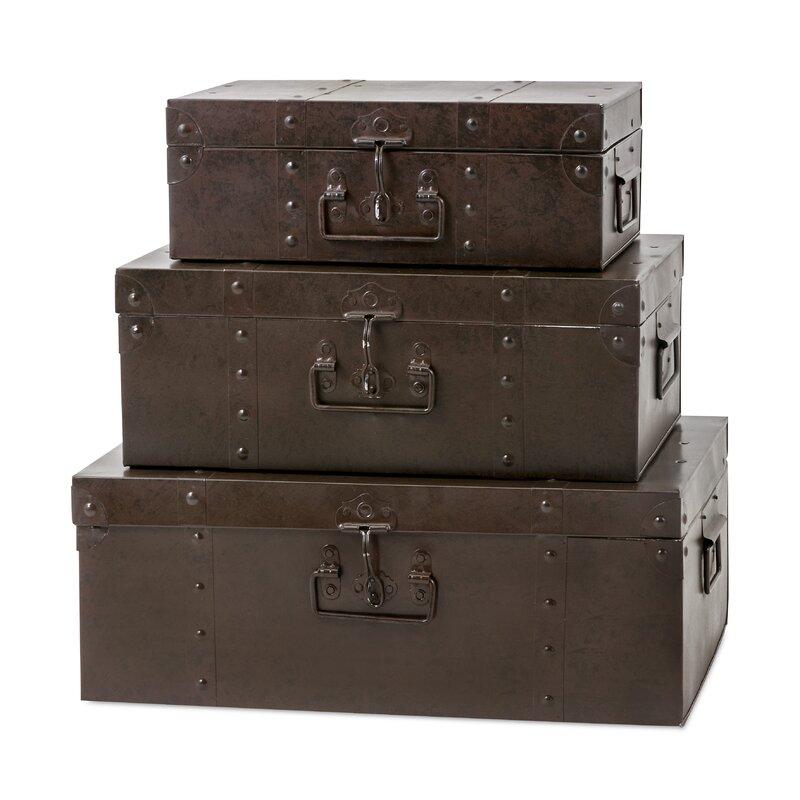 trisha yearwood home collection persimmon 3 piece metal trunk set reviews wayfair. Black Bedroom Furniture Sets. Home Design Ideas