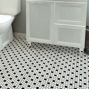 Retro 0 88 X Porcelain Mosaic Tile In Matte White Black