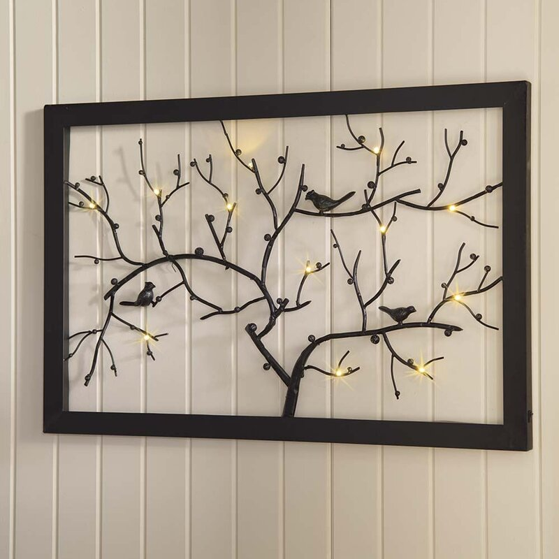 Lighted Pictures Wall Decor wind & weather lighted birds on branches metal wall décor