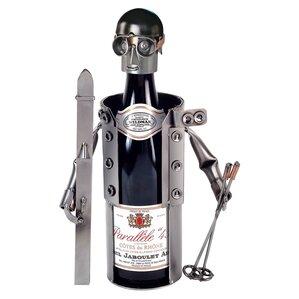 Skier 1 Bottle Tabletop Wine Rack by H & K SCULPTURES