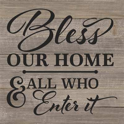 Bless Our Home And All Who Enter It Textual Art On Wood In Gray
