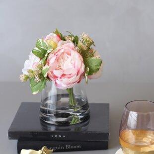 0edacf5c83ce65 Silk Peonies Floral Arrangement in Glass Vase