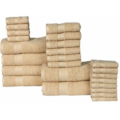 The Twillery Co. Arias 24 Piece 100% Cotton Towel Set Color: Beige
