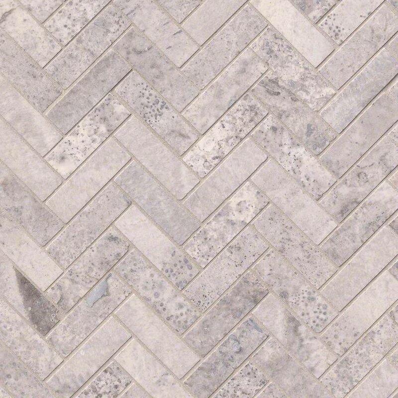 Herringbone Honed Random Sized Travertine Tile In Gray