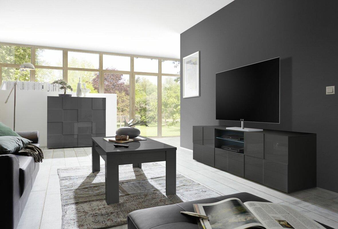 TV-Lowboard CHEQUERS in grau glänzend