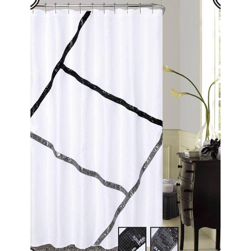 Dainty Home Florence Sequins Shower Curtain   Wayfair