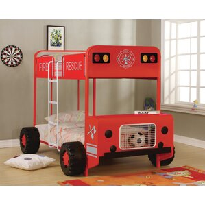 Gertie Fire Truck Twin over Twin Bunk Bed by Zoomie Kids