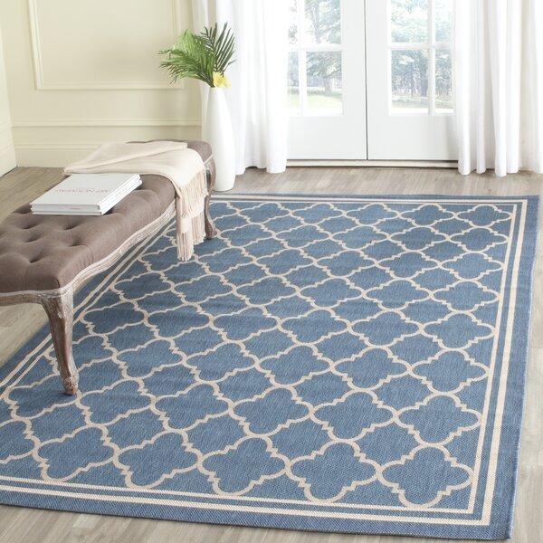 vanessa indoor/outdoor blue/beige area rug & reviews | joss & main