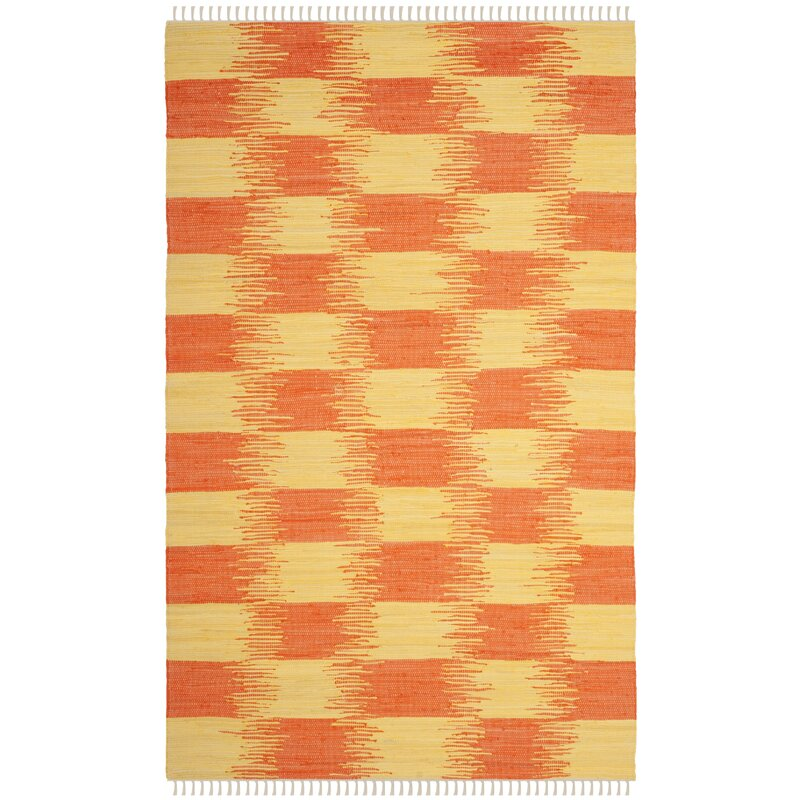 August Grove Opie Hand-Knotted Cotton Orange/Beige Area Rug, Size: Rectangle 8 x 10