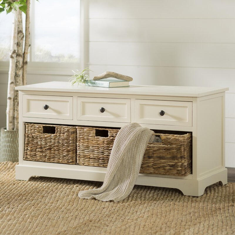 Beachcrest Home Ardina Wood Storage Bench & Reviews