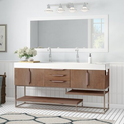 Brayden Studio Hulett 73 Double Bathroom Vanity Set Base Finish: Latte Oak