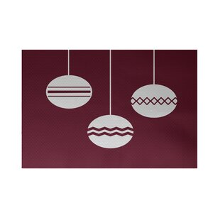 Geo-Bulbs Decorative Holiday Print Cranberry Burgundy Indoor/Outdoor Area Rug