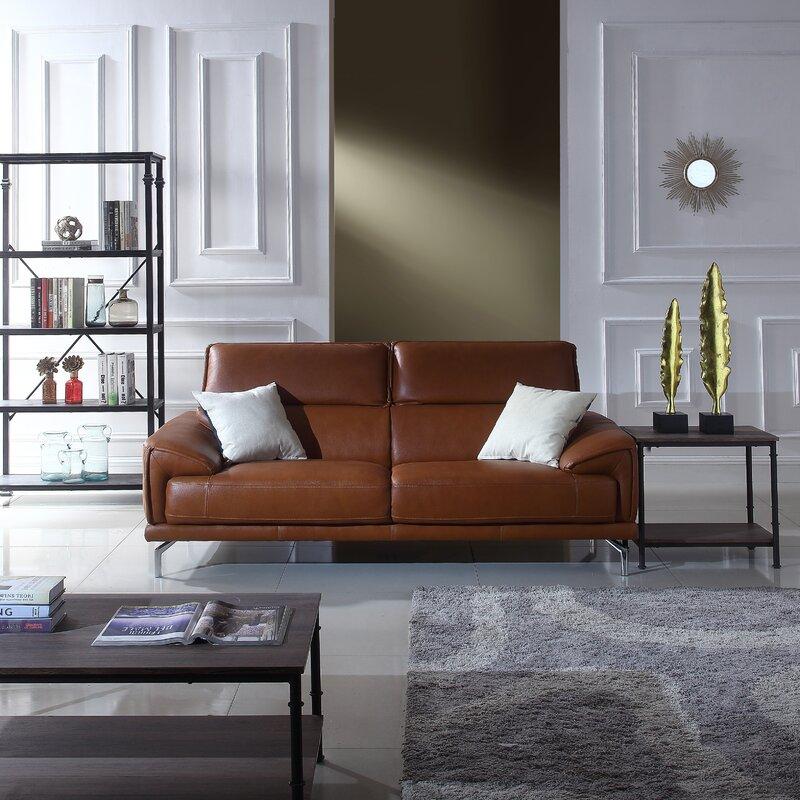 Tawny Mid Century Modern Leather Sofa Allmodern