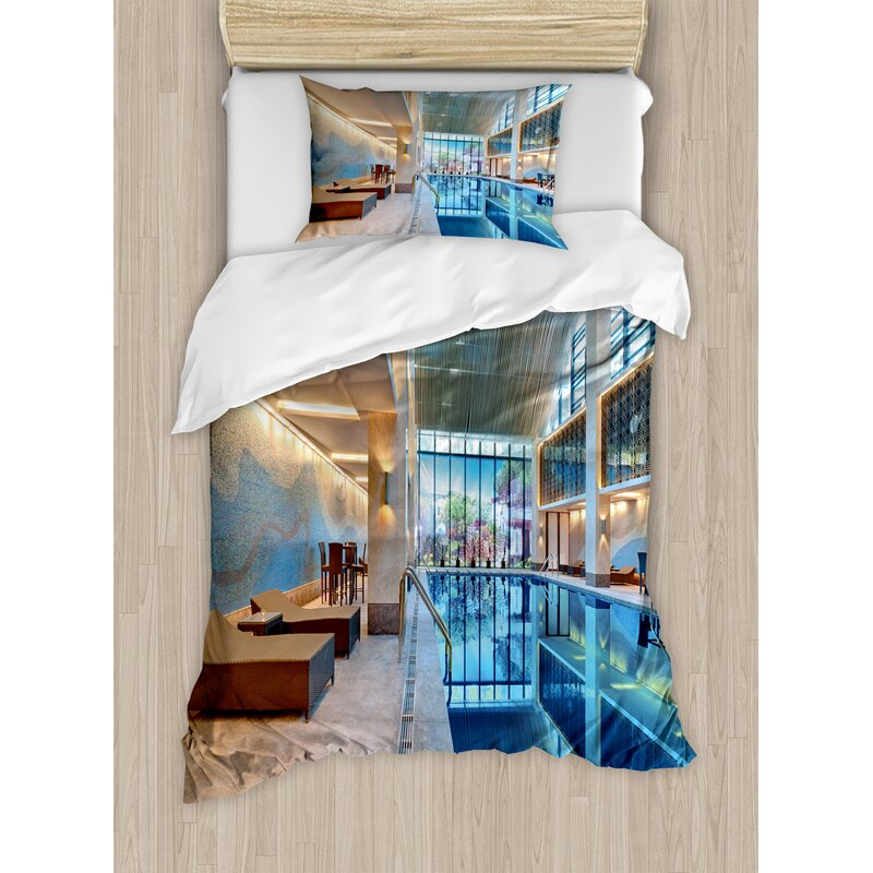Spa Indoor Swimming Pool With Relaxing Long Seats Calming Duvet Cover Set