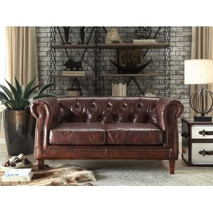 Kasha Top Grain Leather Chesterfield Loveseat by Williston Forge