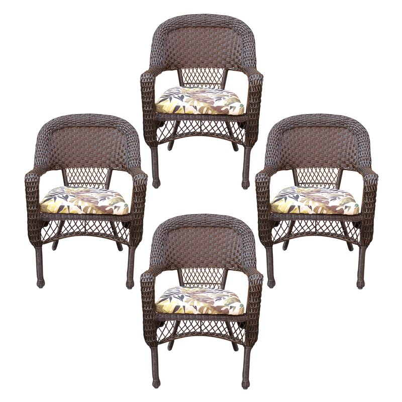 Belwood Resin Wicker Patio Dining Chair With Fl Cushion