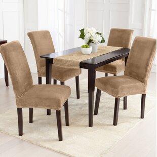 Velvet Plush Room Dining Chair Slipcover Set Of 4