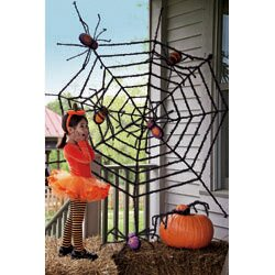 evergreen flag garden giant spider web halloween. Black Bedroom Furniture Sets. Home Design Ideas