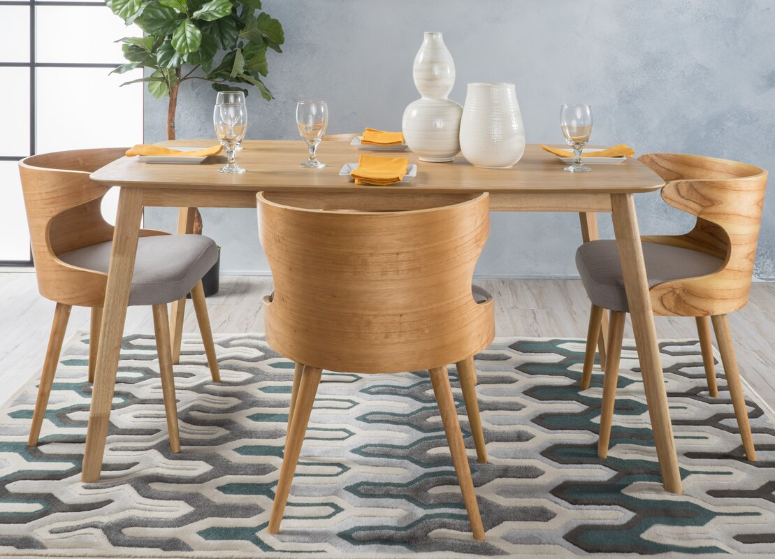 Langley Street Camille 5 Piece Wood Mid Century Dining Set | Wayfair